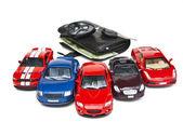 pénztárca, pénzzel és autó modellek