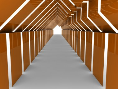 3d house tunnel orange