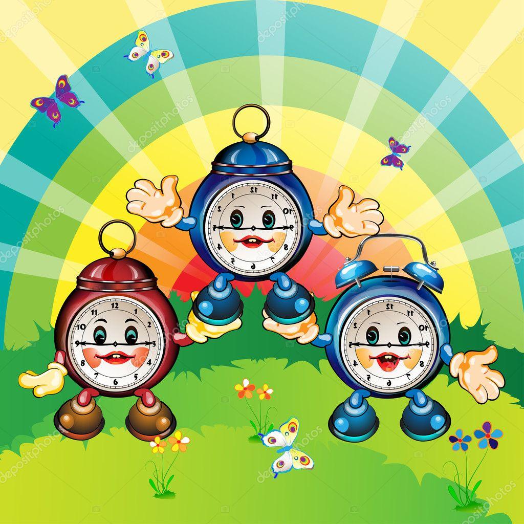 Stock Feliz Relojes Dibujos Vector — © De Animados Merlinul7299882 SUzMVp