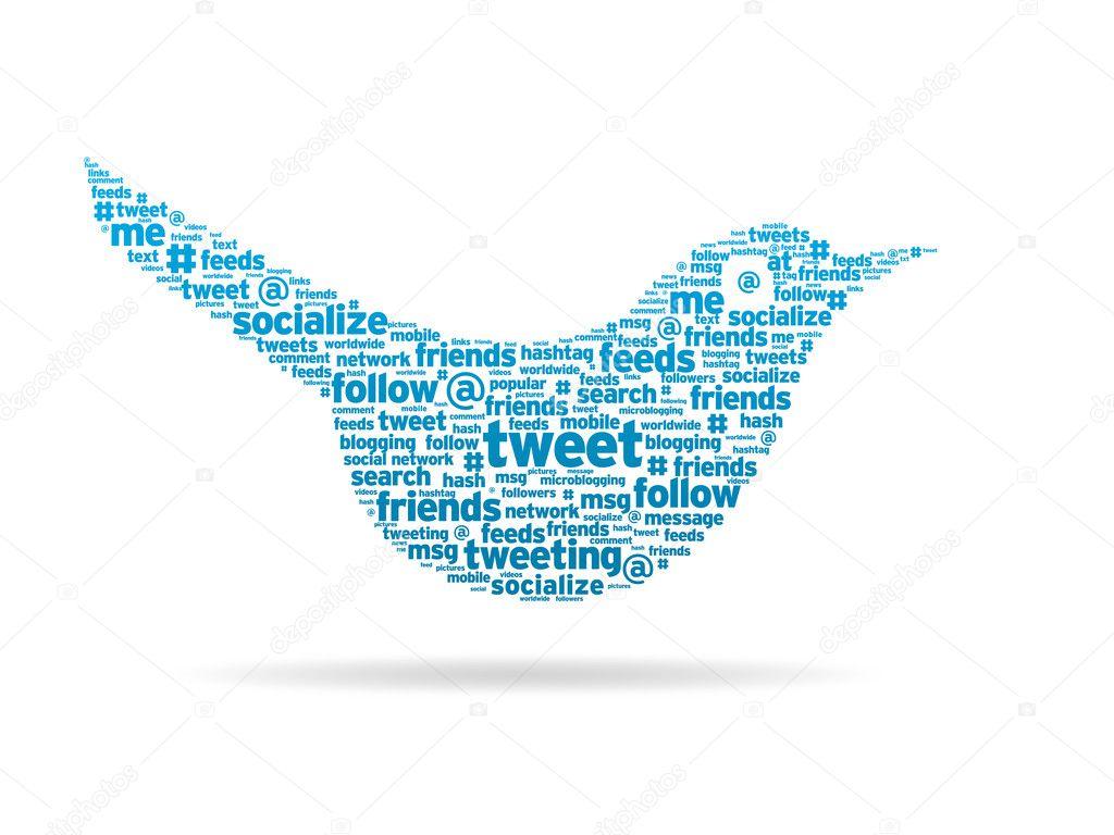 Word illustration of a social media tweeting bird.
