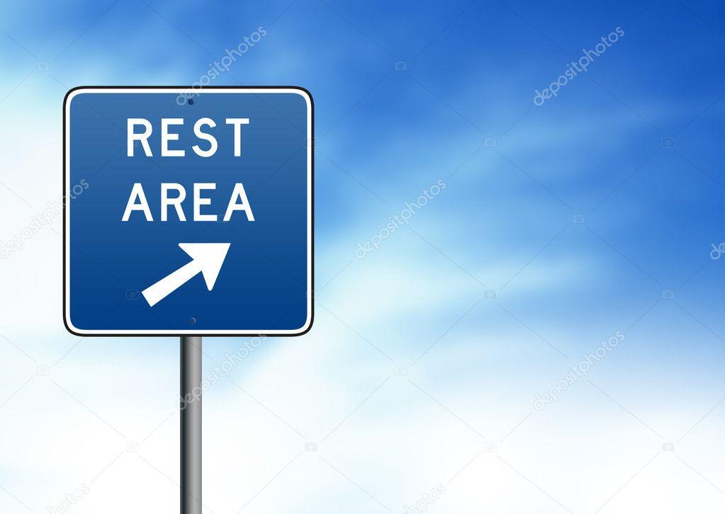 Blue Rest Area Road Sign