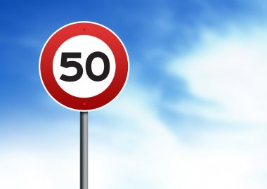 50kmh speed limit road sign