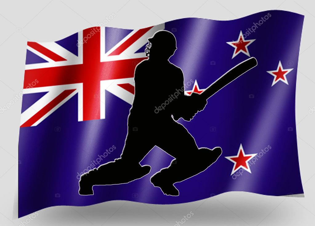 Country Flag Sport Icon Silhouette New ZealandCricket Batsman