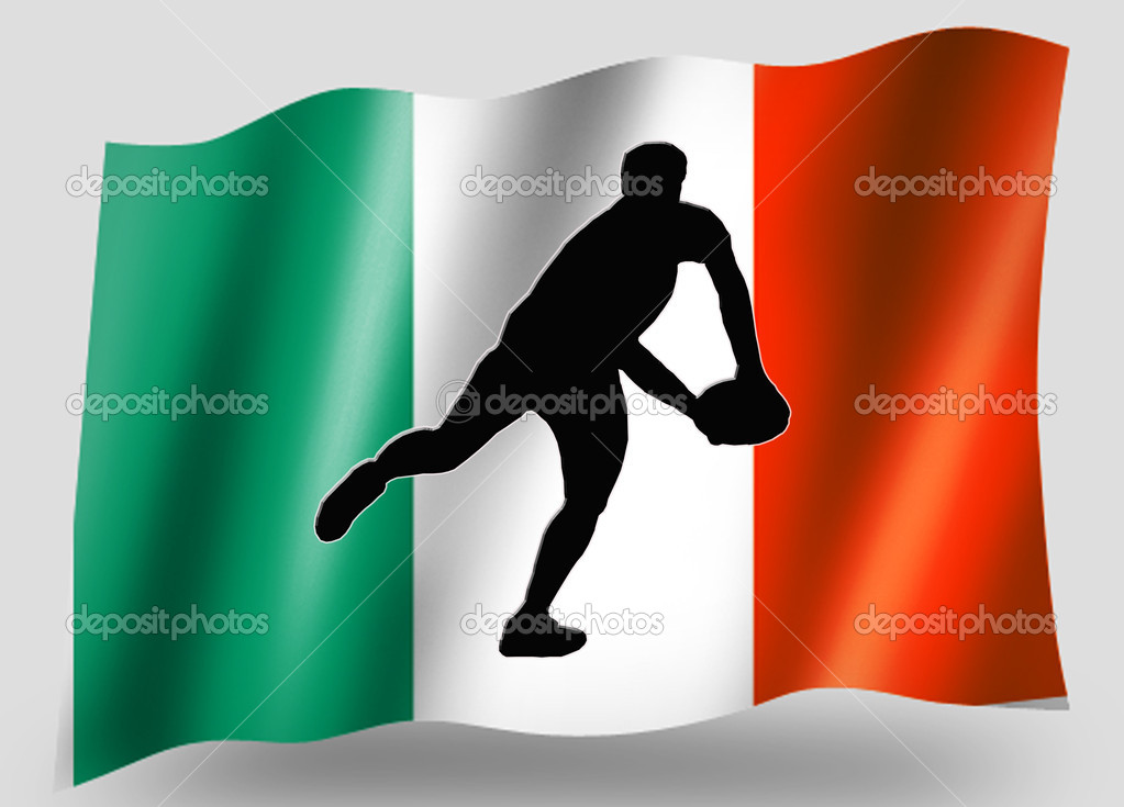 Country Flag Sport Icon Silhouette Irish Rugby Pass