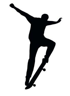 Skateboarding Skater do Nosegrind with Board Silhouette stock vector