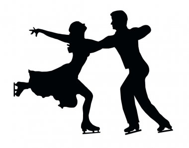 Silhouette Ice Skater Couple Embrace Back Kick
