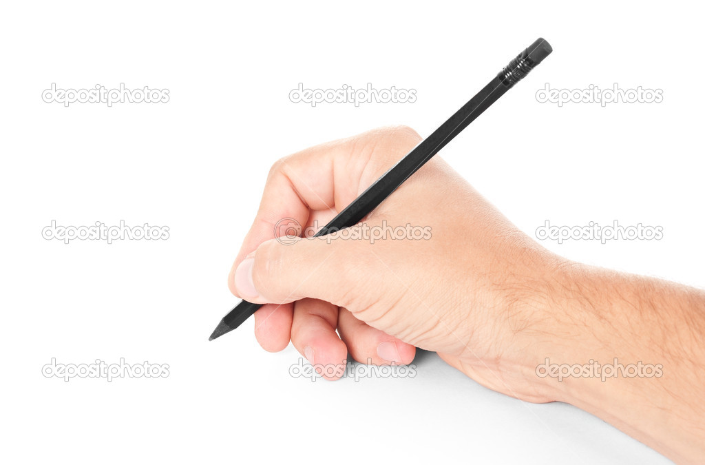 Black pencil in hand