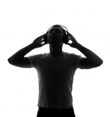 Silhouette of DJ with headphones
