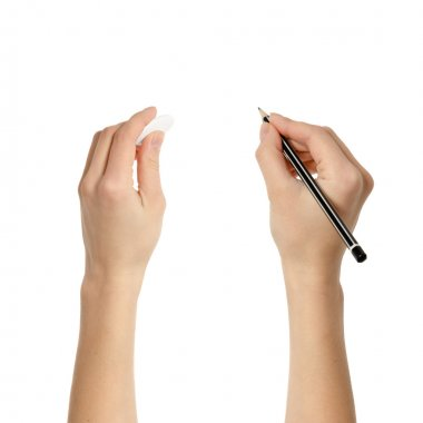Human hands with pencil and eraser rubber