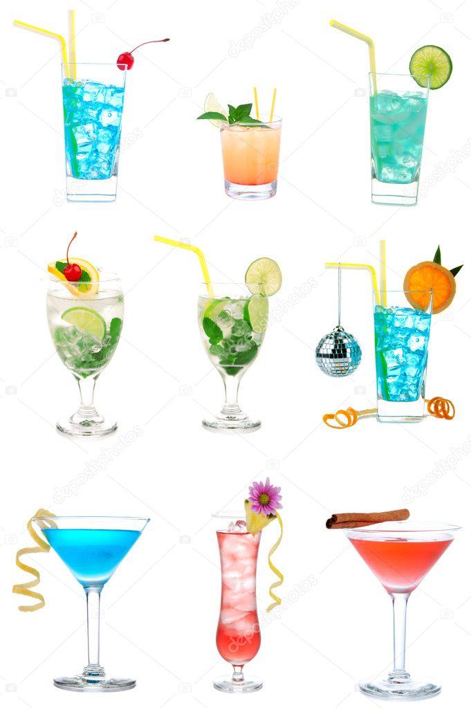 0500563f1 cócteles collage alcohol colección martini mojito — Foto de stock ...