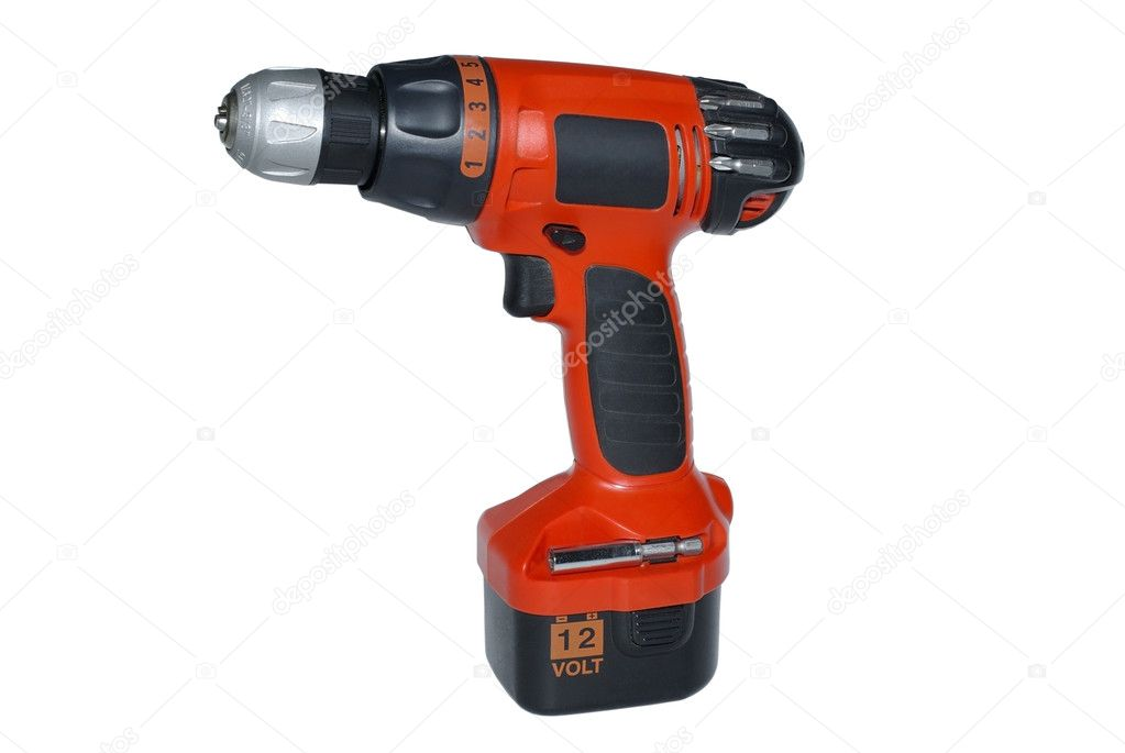 Modern red cordless drilling machine isolated on white backgroun
