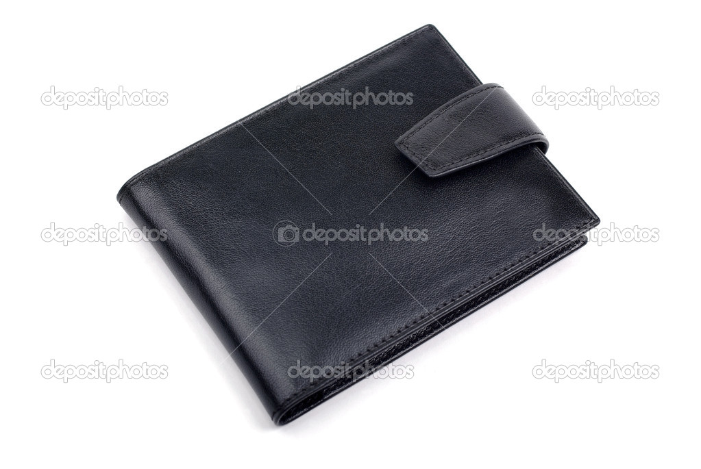 Closed black leather business card holder isolated on white back ...