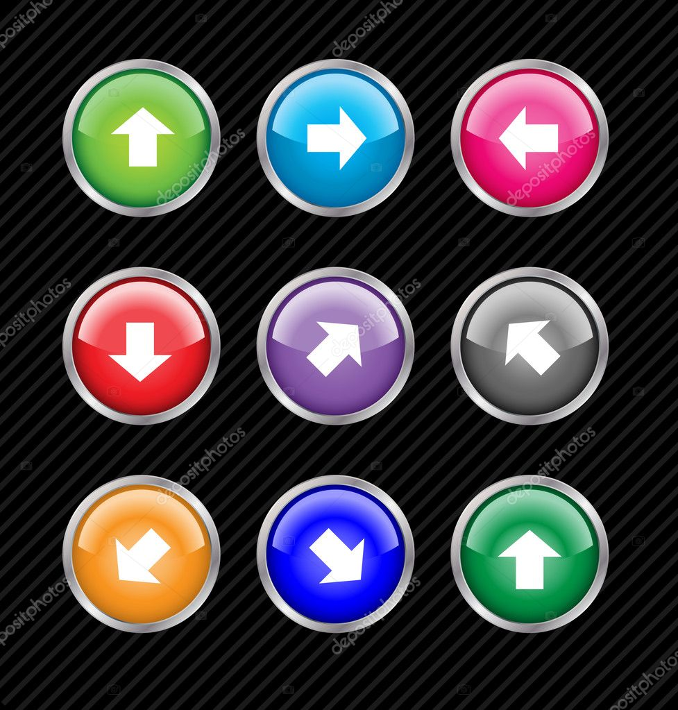 Collection of vector colored buttons with arrows for different d