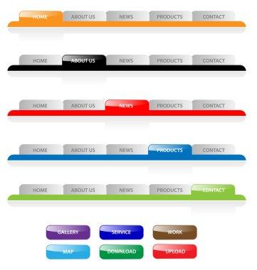 Set of vector aqua web 2.0 site navigation tabs and buttons. Eas