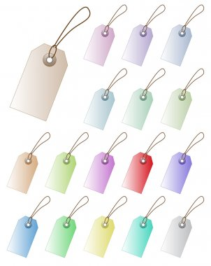 Set of pastel colored vector price tag with empty space. Perfect