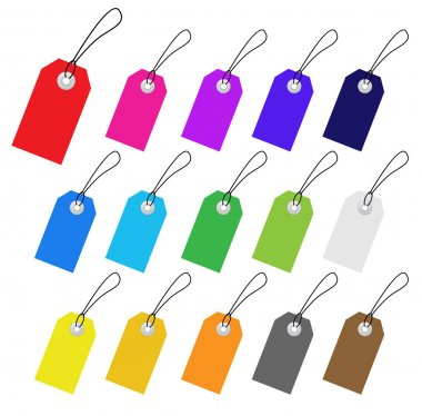 Set of multicolored vector tags for marketing design. Perfect us