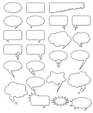 Collection of different empty vector shapes for comics or web. Add text, easy to edit, any size. clip art vector