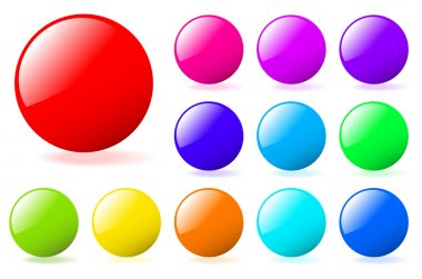 Set of multicolored glossy vector spheres with shadow. Perfect f