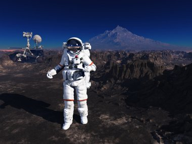 Astronaut on the banks of the world.