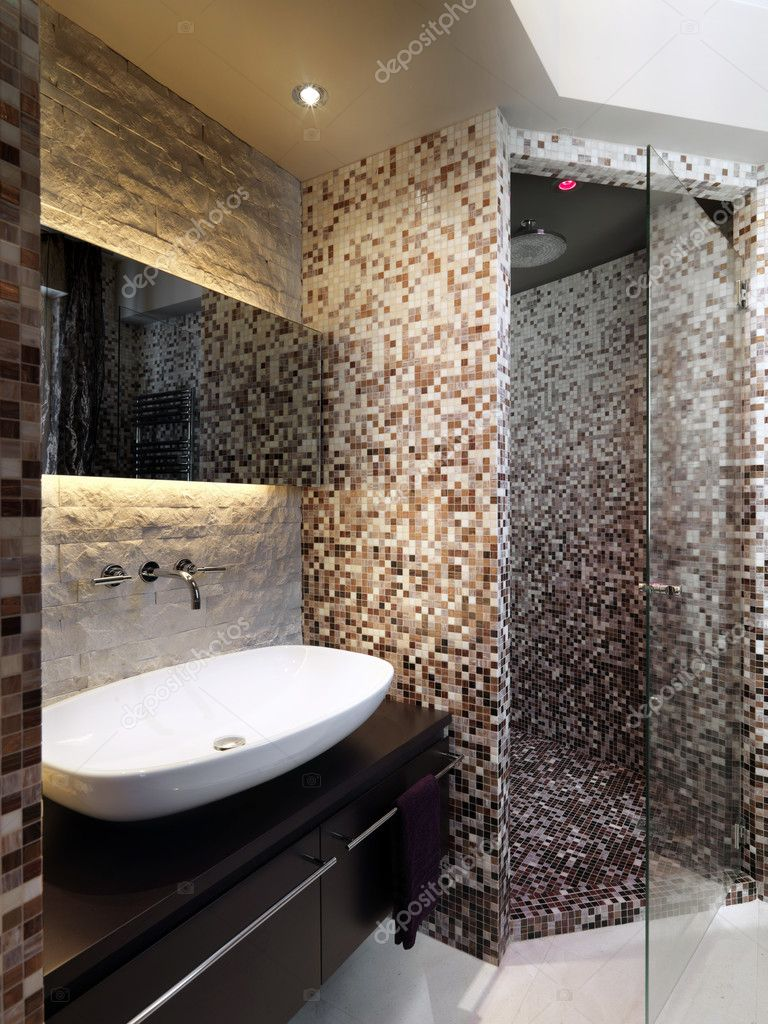 Dusche gemauert modern  bad — Stockfoto #7358866