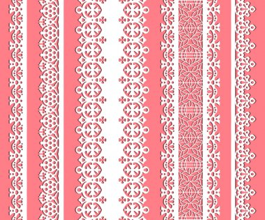 Straight lace set. Seamless lace trims for use with fabric projects, backgrounds or scrap-booking. Elements can also be used as brushes stock vector