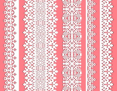 Straight vector lace set. Seamless lace trims for use with fabric projects, backgrounds or scrap-booking. Elements for brushes stock vector