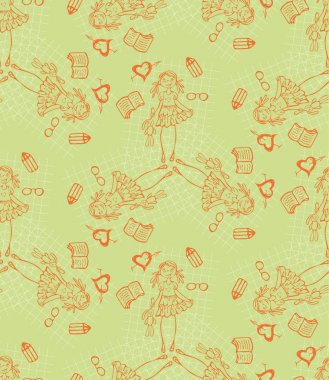 Baby girl green vector cartoon seamless pattern. Glamour background. Endless texture for textile. clip art vector
