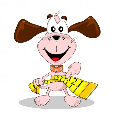 A cartoon dog and measuring tape in diet weight loss concept clip art vector