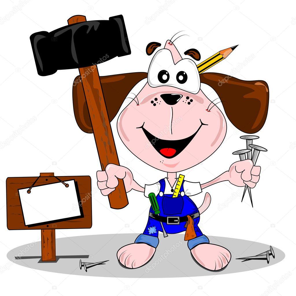 DIY cartoon dog with hammer and nails \u2014 Stock Vector
