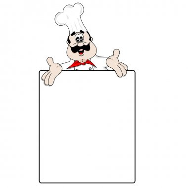 Cartoon chef and blank menu recipe board with copy space stock vector
