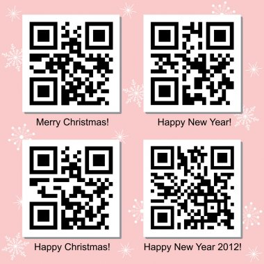 Christmas and New Year QR Code vector set