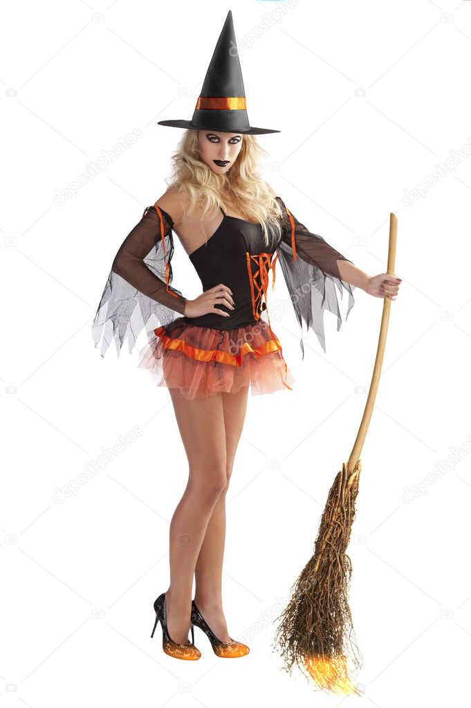 The Orange Witch Flying With Broom  U2014 Stock Photo