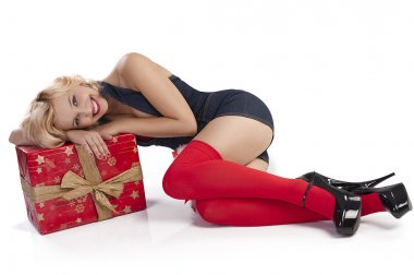 Sensul girl laying with gift box