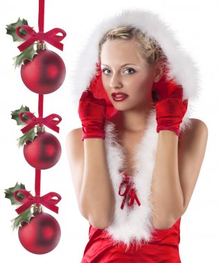 Red and sexy santa claus girl hiding under hood