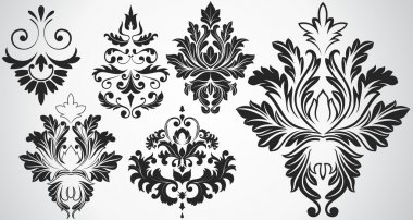 Abstract Artistic Decor Damask Elements