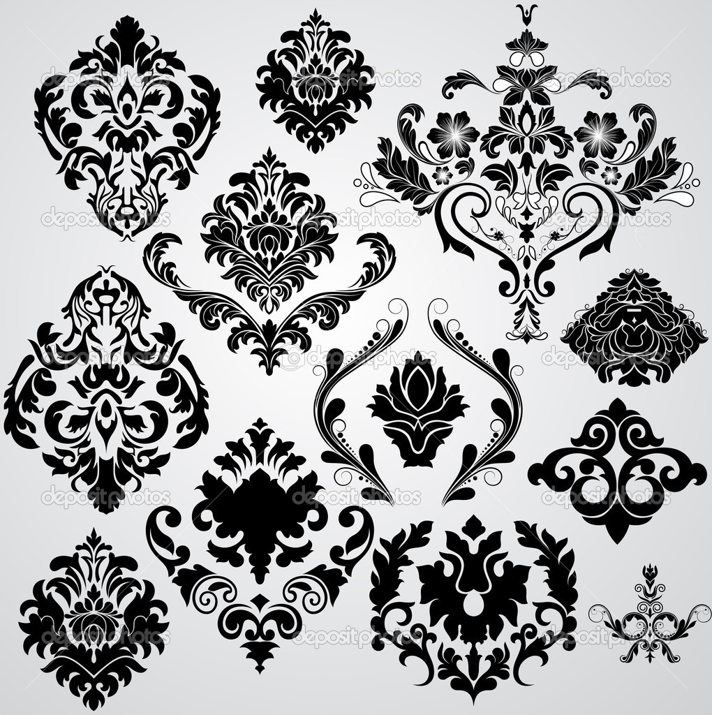 Creative Isolated Abstract Artistic Decor Design Of Funky Flourish Damask Floral Elements clipart vector