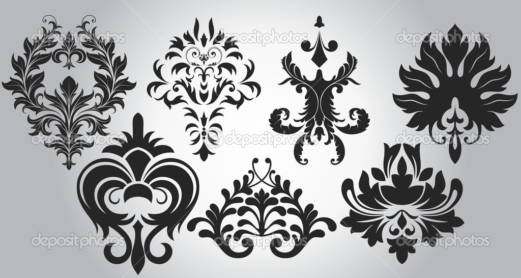 stylish flourish elegant damask designs stock vector baavli 6753499