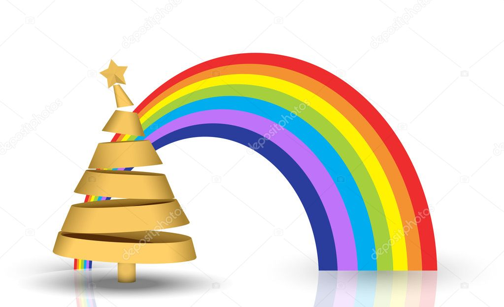 Golden Christmas Tree With Isolated Rainbow