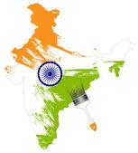 malovaná mapa Indie s štětec