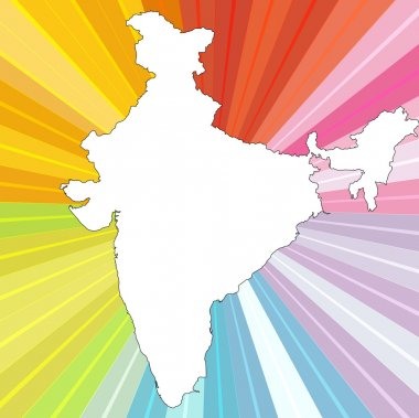 White India Map on Sunburst Background