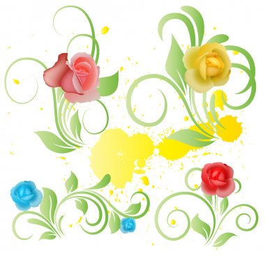 Vector Art of Flower Elements on Yellow Paint Splash
