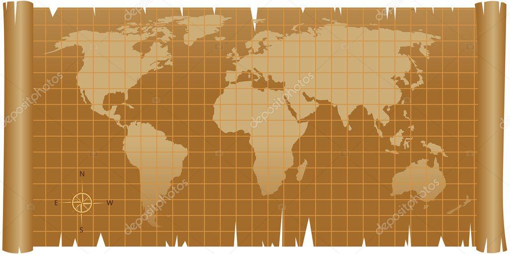Carte Du Monde Parchemin carte du monde sur papier parchemin rugueux — image vectorielle