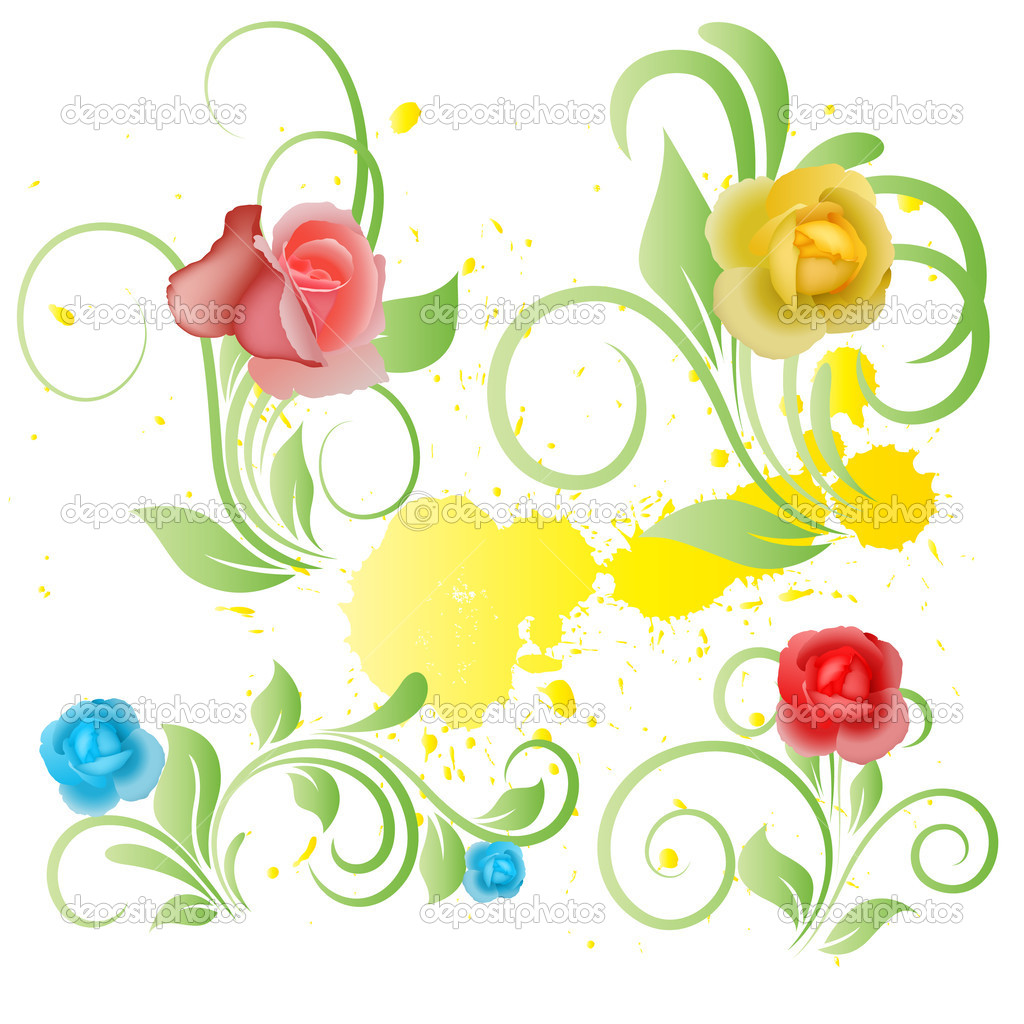 Vector Art of Flower Elements on Yellow Paint Splash