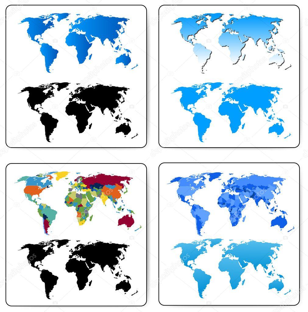 Set of Decorative World Maps — Stock Vector © baavli #7356689 Decorative Maps Of The World on western maps of the world, vintage maps of the world, food maps of the world, abstract maps of the world, historical maps of the world, basic maps of the world, paper maps of the world, light maps of the world, cartoon maps of the world, china maps of the world, cute maps of the world, military maps of the world, wall maps of the world, landscape maps of the world, religion maps of the world, nautical maps of the world, country maps of the world, distorted maps of the world, classic maps of the world,