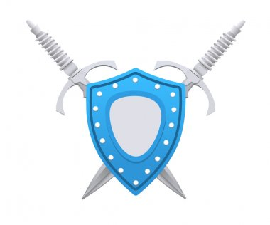 3D Style Shield with Swords