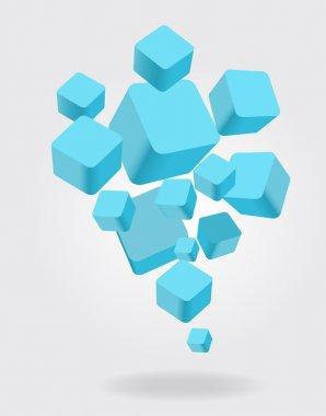 Blue 3D Cubes Boxes