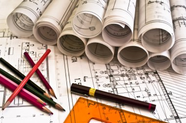 Architect rolls and plans