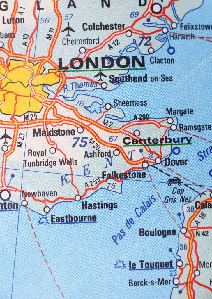 London, United Kingdom as a travel destination on a map ...