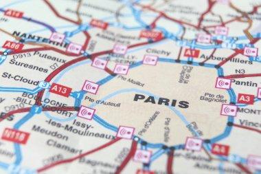 Paris as a travel destination on a map