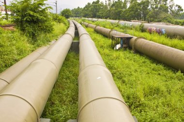 Industrial pipelines on the ground